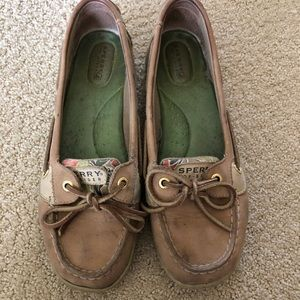Tan Sperry Top Siders with Floral Design
